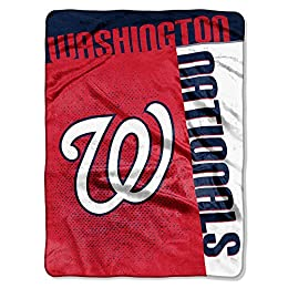 Washington Nationals MLB Royal Plush Raschel Blanket (Strike Series) (60