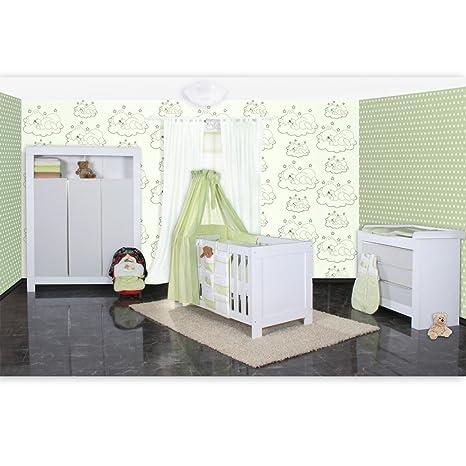 Babyzimmer Felix in weiss/grau mit 3 turigem Kl 19 tlg. + Sleeping Bear, grun
