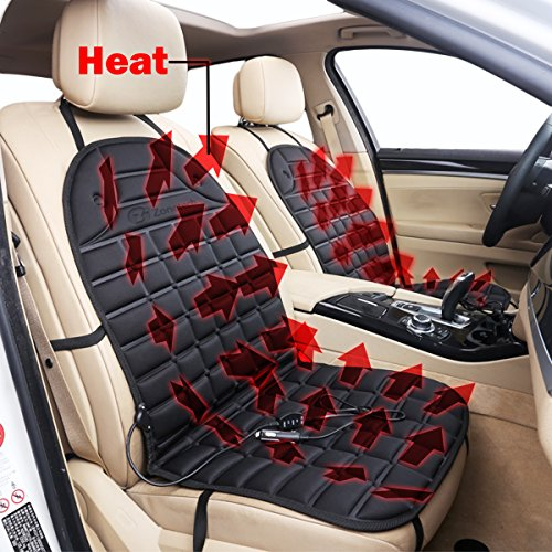 Zone Tech Car Heated Seat Cover Cushion Hot Warmer - 2-Pack 12V Classic Black Heating Warmer Pad Hot Cover Perfect for Cold Weather and Winter Driving (Truck Seat Heater compare prices)