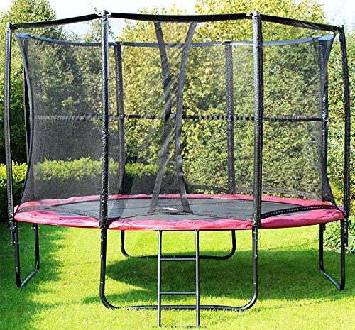 MIWEBA SPORTS Exclusiv Trampolin 12 FT 366 cm komplett Set in rot Gartentrampolin günstig