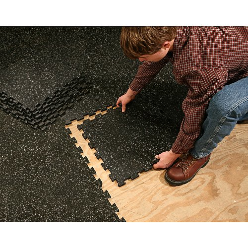Supermats 6 Pieces of Solid Black Rubber Interlocking Floor Mats Pack (19.5-Inch x 19.5-Inch) Image