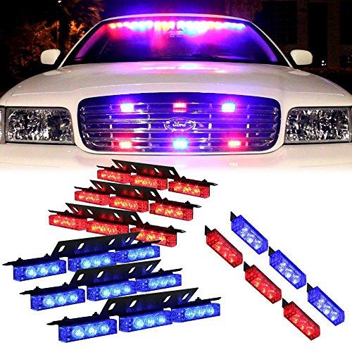 Exlight Blue Red 54X Led Police Vehicle Dash Deck Grille Strobe Warning Lights - 1 Set