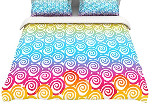 "Kess Inhouse Frederic Levy-Hadida ""Ethnic Spirals"" Cotton Duvet Cover, 88 By 88-Inch, Rainbow back-954744"
