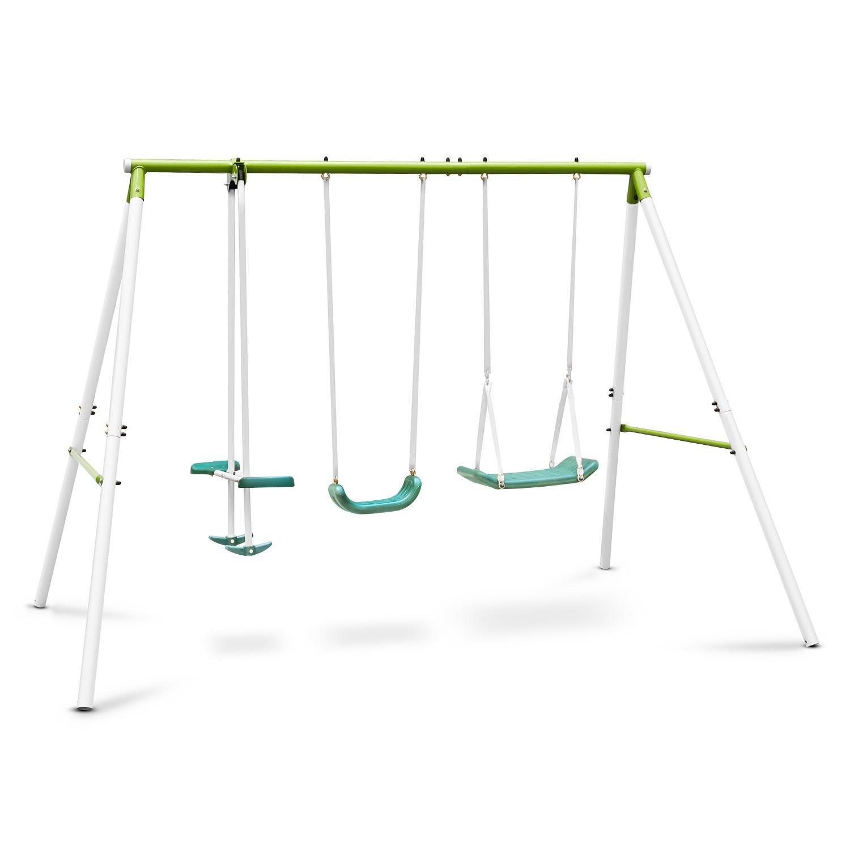 oneConcept Olav Kinderschaukel Gartenschaukel Doppel-Schaukel Schaukelgestell mit 2 Schaukeln und Wippe (für Kinder von 3-8 Jahren, bis zu max. 120 kg Gesamt-Belastung, inkl. 2 Schaukelbretter und Erdnägel zu Boden-verankerung) online kaufen
