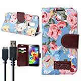 For Galaxy S5 Case, with 3.0 Charger Cable Wallet PU Leather Protective Flip Folio Slim Fit Stand Case Cover (Flora-Blue)