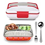 LOHOME Electric Heating Lunch Box - Insulated Lunch Box Bento Meal Heater Food Warmer Stainless Steel Portable Lunch Containers for Home & Office Use 110V with Free Spoon & Fork (Red) (Color: Red)