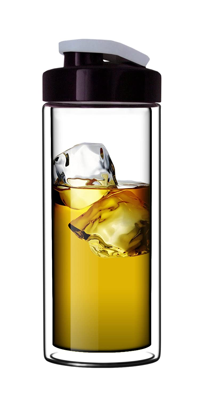 Sun's Tea 18oz Clear Double-Wall Glass Travel Mug w/ Flip Drinkhole Lid