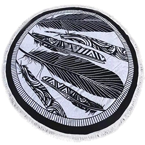 Hatop Round Hippie Tapestry Beach Throw Roundie Mandala Towel Yoga Mat Bohemian Featur (E)