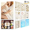 Temporary Tattoo ( 9 SHEET) 2 Change the Color in The Sun+5 Sheet Metallic Gold +2 Sheet Elegant Series White Lace, Non-Toxic, Eco-Friendly, Easy To Apply and Long Lasting