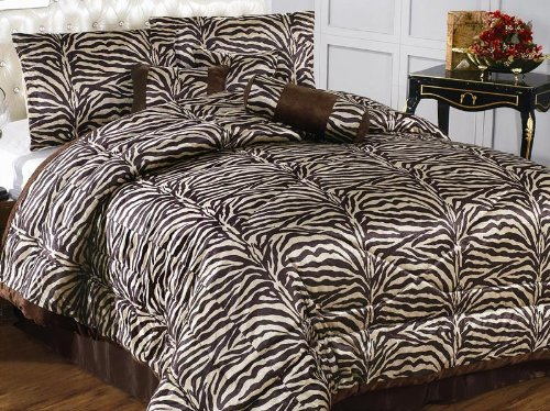 7 Pc Modern Brown Zebra Micro Fur Comforter Set / Bed In A Bag - King Size Bedding front-1027157