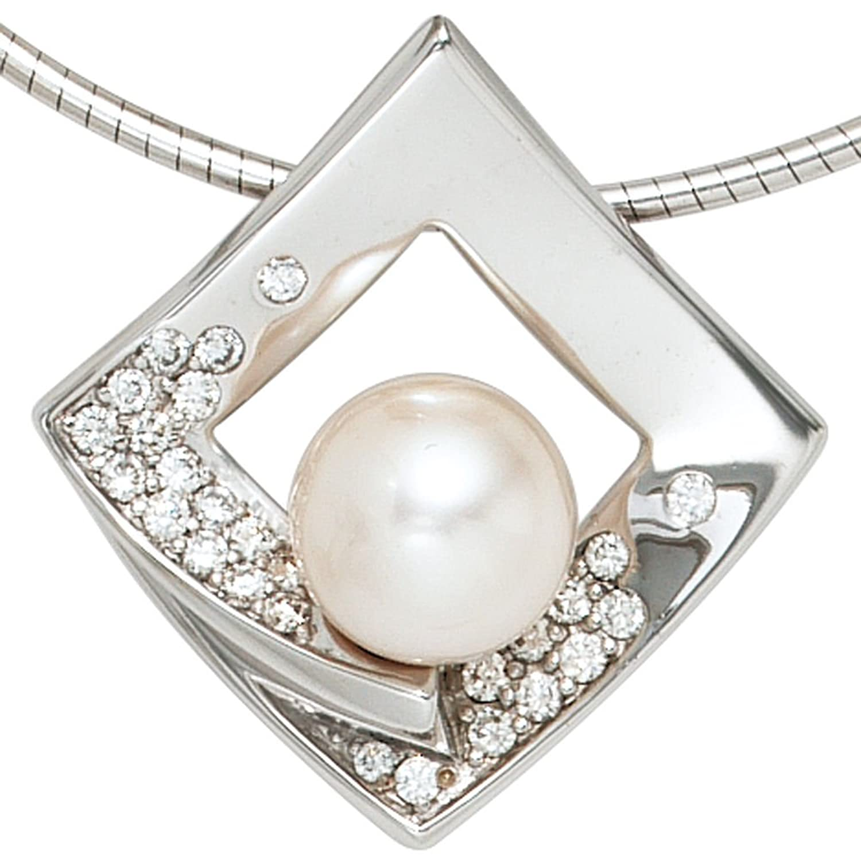 Damen Gold Anhänger 585 Gold Weißgold 1 Akoya – Zuchtperle 27 Diamanten Brillanten 0,263ct. günstig online kaufen