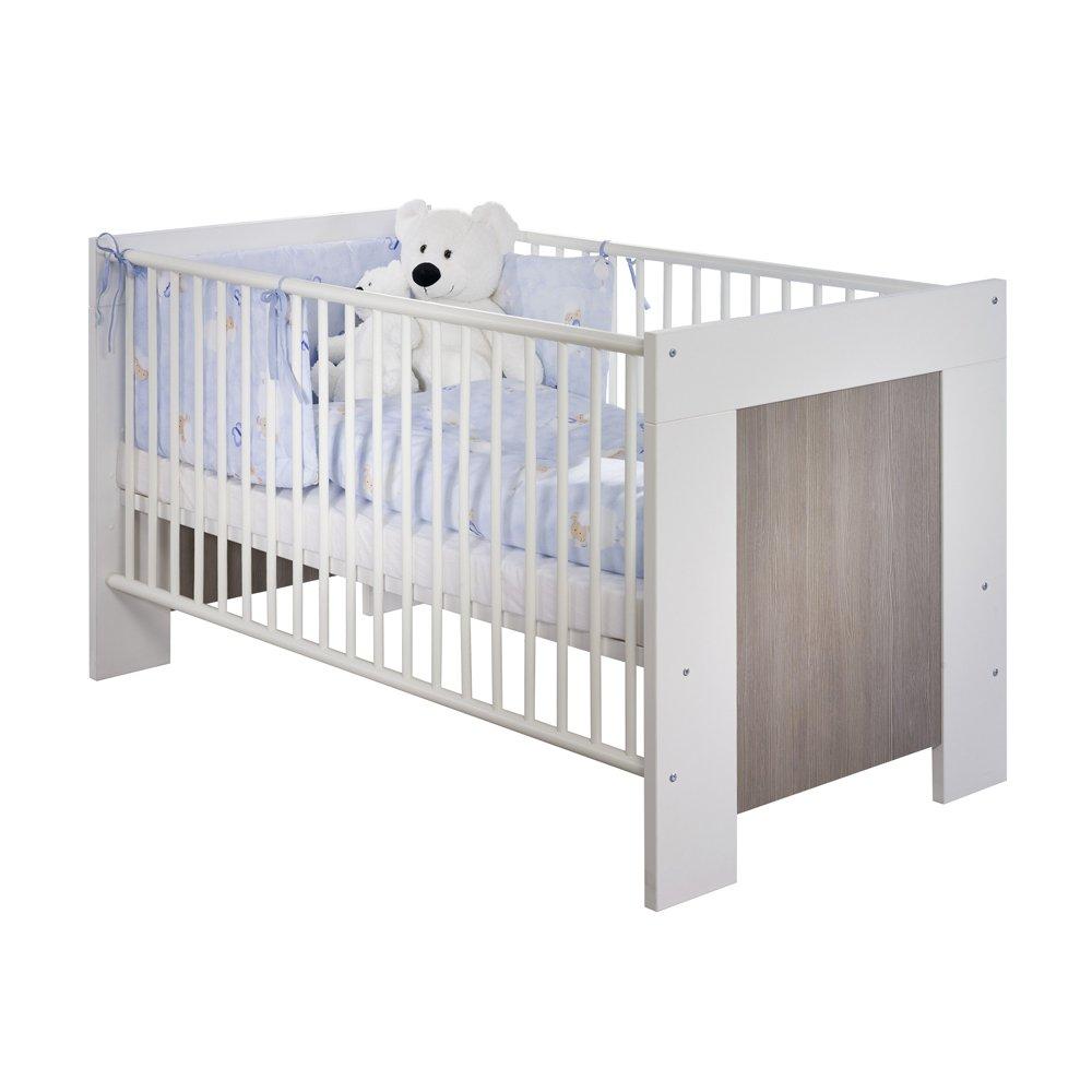 iovivo Babybett Maxi weiß/pinie in 70×140 cm mit Seitenteil für Juniorbett