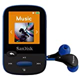 SanDisk Clip Sport 8GB MP3 Player, Blue With LCD Screen and MicroSDHC Card Slot (Certified Refurbished) (Color: Blue)