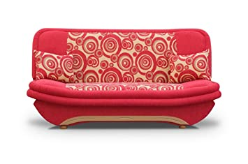 Futon - Couch - Red Sofa Bed Denis with bedding place and 'clic-clak' mechanism. Any colors. Polskie Wersalki