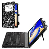 Fintie Folio Keyboard Case for Samsung Galaxy Tab S4 10.5 2018 Model SM-T830/T835/T837, Premium PU Leather Stand Cover with Removable Wireless Bluetooth Keyboard, Composition Book (Color: Z- Composition Book)