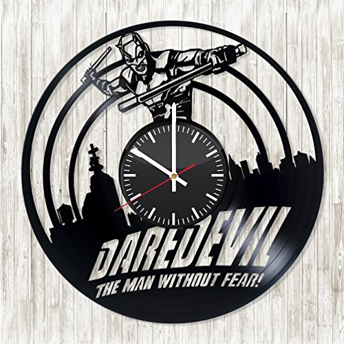 [Daredevil The man without fear Vinyl Record Wall Clock - Get unique kitchen wall decor - Gift ideas for men, women, boys and girls - Unique comic Art - Leave us a feedback and win your custom] (Daredevil Costumes Replica)