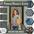 Premium Magnetic Screen Door - KEEP BUGS OUT Lets Fresh Air In. Instant Bug Mesh Is Built Tough, Magnetic Top to Bottom Seal Snaps Shut Automatically