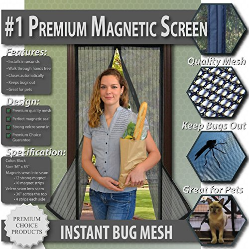 Premium Magnetic Screen Door - KEEP BUGS OUT.. Tough Mesh, Magnets Snap Shut Automatically. Lets Fresh Air In! (Fits Doors UP TO 34
