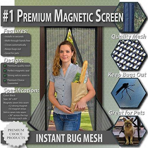 Mosquitera magnética para puertas - Instant Bug Mesh. Nuevo diseño, Sin huecos, Manos libres; Instálela usted mismo, ¡Deje entrar aire fresco y a los insectos déjelos afuera