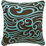 Wabisabi Green Wave Decorative Modern Organic Cotton Square Throw Pillow Cover, 18 by 18-Inch, Chocolate and Aqua