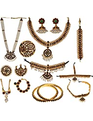 Preethi Gold Plated Gold Metal Jewellery Set For Women (Preethi_63)