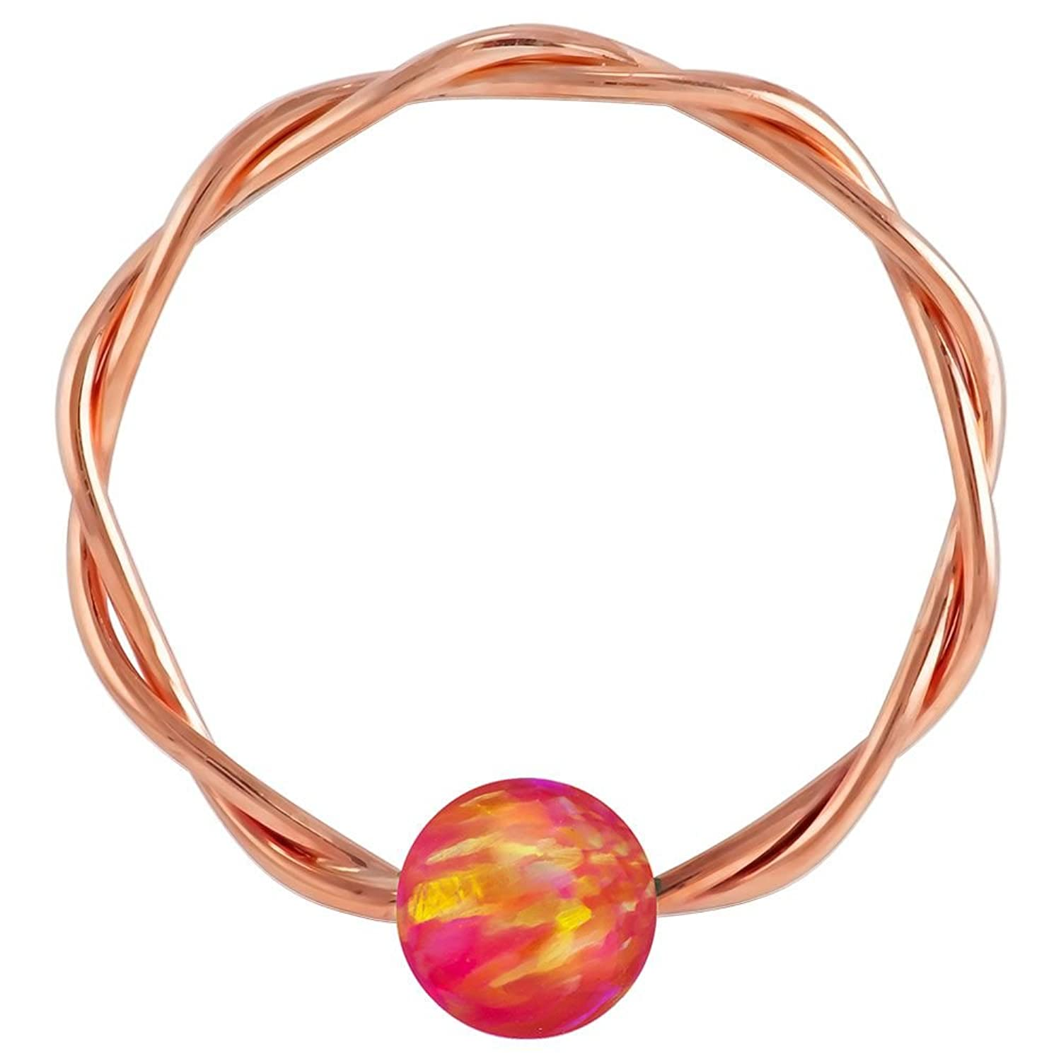 20 Gauge - Pink Opal Solid 14kt Rose Gold Twisted Captive Bead Ring - 4mm Opal Ball changxing jewelry 6x8mm 14kt