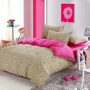 Pink cheetah print bedding leopard print duvet cover set twin home kitchen - Pink cheetah bed set ...