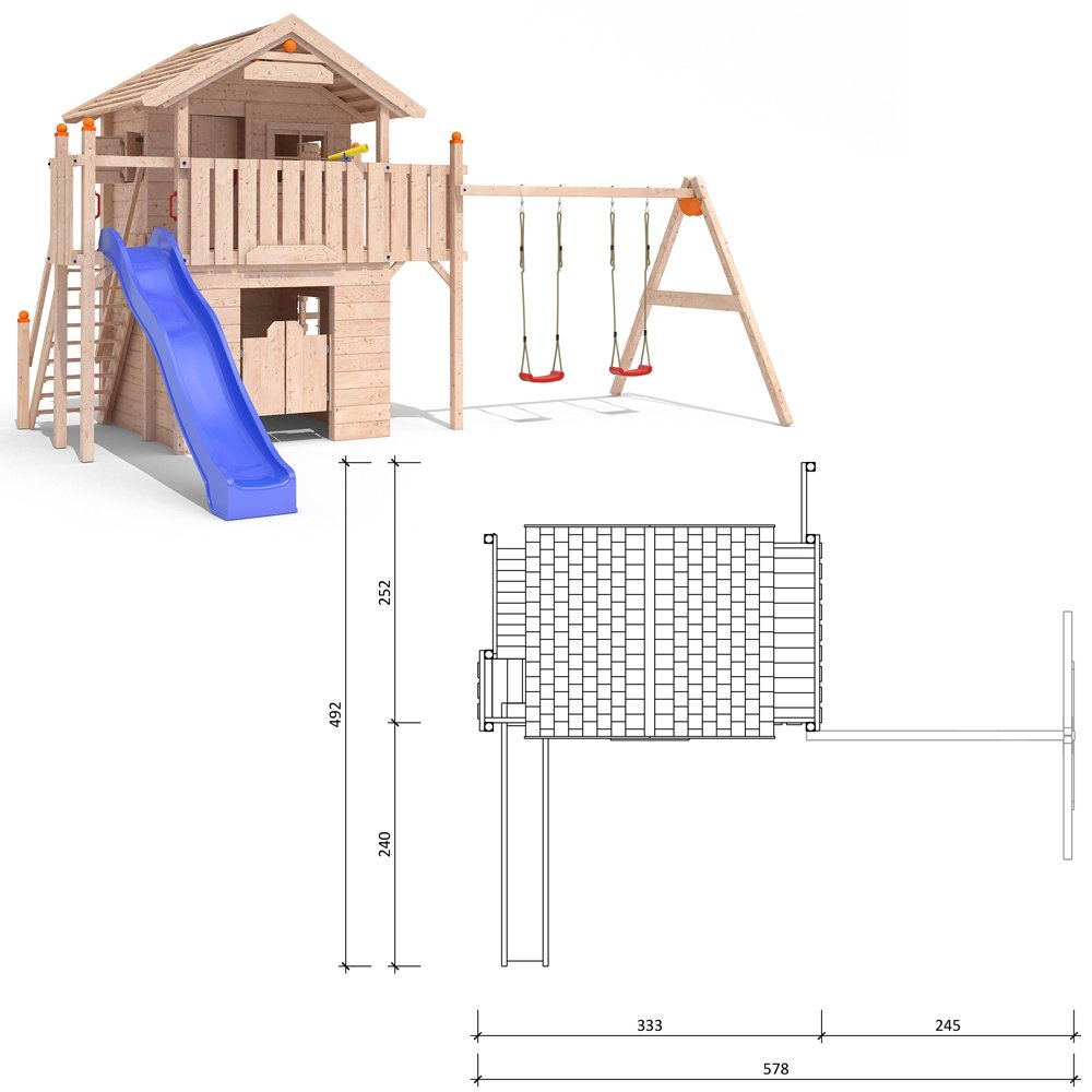 ISIDOR Western World Spielturm Kletterturm Rutsche Schaukel Baumhaus Spielhaus (einfacher Schaukelanbau) jetzt bestellen