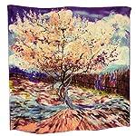"Dahlia Women's 100% Square Silk Scarf – Van Gogh ""Peach Tree in Bloom"" – Blue"