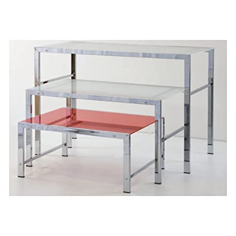 Rectangular Medium Table 100 x 60 x 60 cm Structure in Tube with Shelf in Panelling White