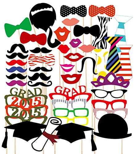 Find Bargain 46PCS Graduation Party Masks Photo Booth Props Mustache On A Stick Grad Party