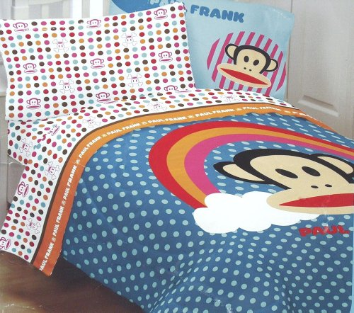 3Pc Paul Frank Rainbow Polka Dots And Monkey Faces Twin Bedding Sheet Set front-636094