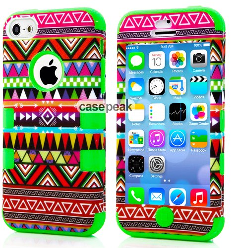 Mylife (Tm) Spring Green - Colorful Tribal Pattern Series (Neo Hypergrip Flex Gel) 3 Piece Case For Iphone 5/5S (5G) 5Th Generation Itouch Smartphone By Apple (External 2 Piece Fitted On Hard Rubberized Plates + Internal Soft Silicone Easy Grip Bumper Gel