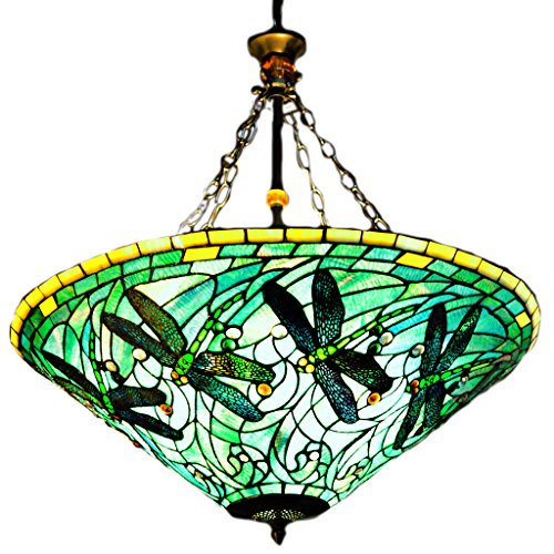 Great  of Goods Stained Glass Tiffany Style Green Dragonfly Inverted Hanging Lamp