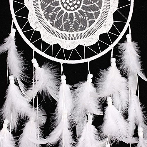"YYAO® Handmade Traditional Original ~ Dream Catcher (White Laces) 8"" Diameter 24.8"" Long(With a Gift)"