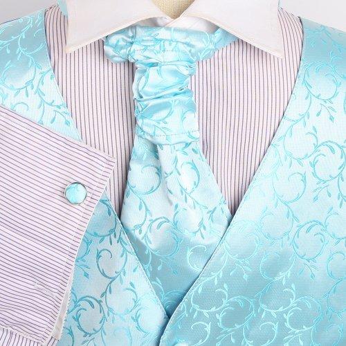 VS2019 Green Patterned Designer Vests Cufflinks Hanky Ascot Tie By Y&G