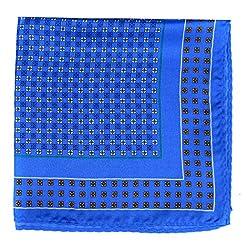 PS-A-601 - Silk Pocket Square - Blue - Orange - Green