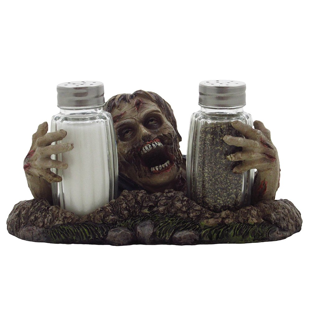 Graveyard Zombie Glass Salt and Pepper Shaker Set