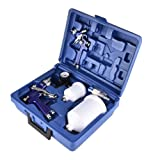 Mostbest HVLP 1.0MM & 1.4MM Air Spray Nozzle Gun Set - 3 Sprayguns with Cups, Air Regulator & Maintenance Kit for All Auto Paint, Primer, Topcoat & Touch-Up, 30-80PSI (Color: Blue)