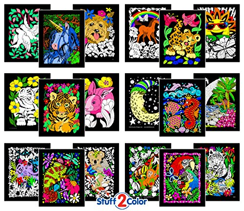 Super Pack of 18 Fuzzy Velvet 8x10 Inch Posters (Artistic Edition) (Velvet Coloring Pictures compare prices)