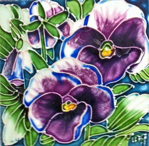 Continental Art Center SD-014 4 by 4-Inch Pansy Ceramic Art Tile