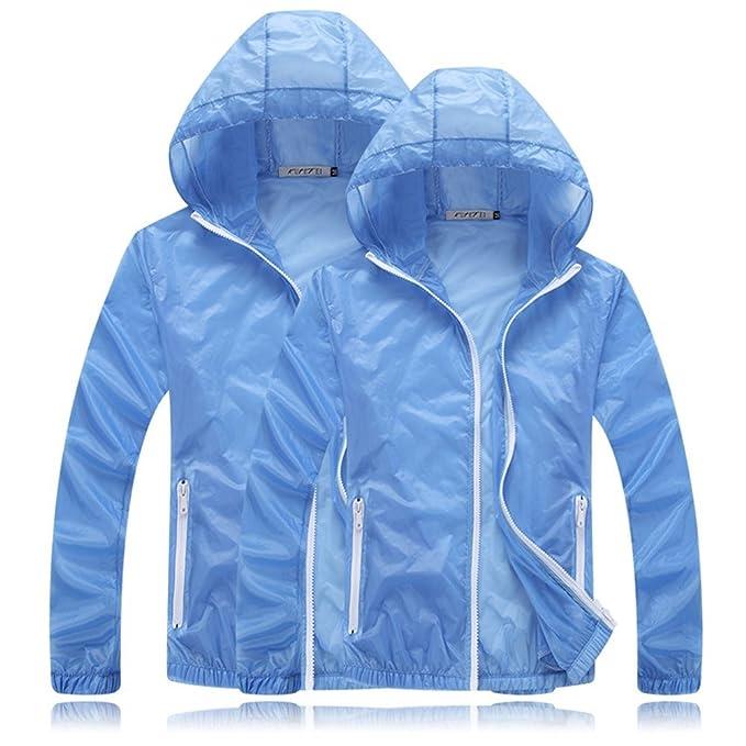 WANGQIANG Plus Size Unisex Thin Coat Uv Cardigan Lightweight Jacket Windbreaker (XXXL, light blue)