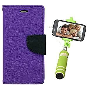 Aart Fancy Diary Card Wallet Flip Case Back Cover For Samsung E5 - (Purple) + Mini Aux Wired Fashionable Selfie Stick Compatible for all Mobiles Phones By Aart Store