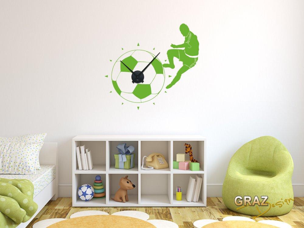 Wandtattoo Wanduhr Fußball mit Fußballspieler für das Kinderzimmer (Uhr Schwarz/Aufkleber Hellgrün) kaufen