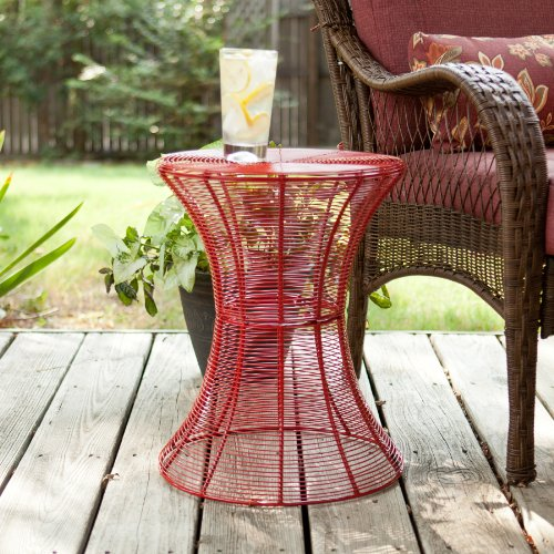 SEI 18.5-Inch Indoor/Outdoor Round Metal Accent Table, Red