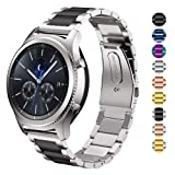 DELELE for Samsung Gear S3 / Galaxy Watch Band, 22mm Solid Stainless Steel Metal Business Replacement Bracelet Strap for Samsung Gear S3 Frontier/Classic / Galaxy Watch 46mm Women Men (Silver-Black) (Color: Silver-Black, Tamaño: 22mm)