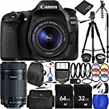 Canon EOS 80D DSLR Camera Bundle with 18-55mm f/3.5-5.6 IS STM Lens & EF-S 55-250mm f/4-5.6 IS STM Lens, Carrying Case, Deluxe Backpack, and Accessory Kit (41 Items)