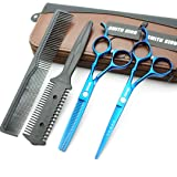 6.0 Inches Hair Cutting Scissors Set with Combs Lether Scissors Case,Hair cutting shears Hair Thinning shears For Personal and Professional (Blue) (Color: Blue, Tamaño: 6.0 Inches)