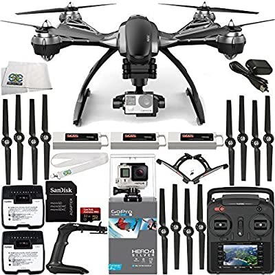 YUNEEC Typhoon G Quadcopter with GB20 Gimbal for GoPro (RTF) & Manufacturer Accessories + 2 Extra 5400mAh Flight Batteries + Extra SC 3500-3 DC LiPo Balancing Charger + GoPro HERO4 Silver + MORE