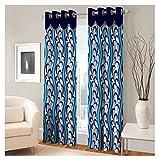 FASHIONFAB 2 Piece Polyester Door Curtain - 7ft, Blue